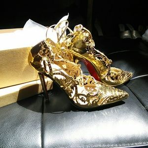Red bottom high heel laser cut  lace up shoes